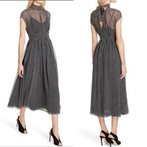 KATE SPADE Dress Houndstooth Print Mockneck Midi